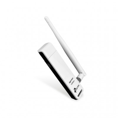 Adaptador USB TP-LINK TL-WN722N, Inalámbrico, 150 Mbit/s, Color blanco